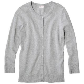 Merona Petites Long Sleeve Crew Neck Cardigan Sweater   Gray LP