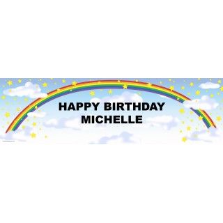 Rainbow Stars Personalized Birthday Banner