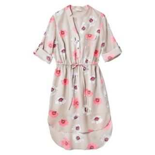 Merona Womens Drawstring Shirt Dress   Pink Floral   S