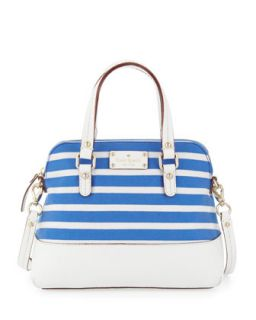 grove court striped maise satchel bag, azure blue/white   kate spade new york