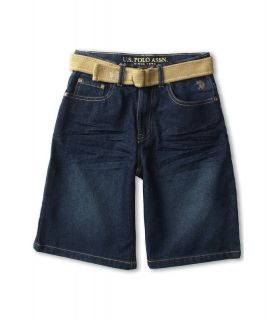 U.S. Polo Assn Kids 5 Pocket Belted Short Boys Shorts (Blue)
