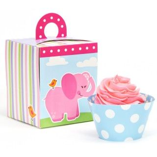 Pink Elephants Cupcake Wrapper Combo Kit