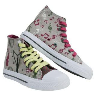 Girls Xolo Shoes Rocker Girl High Top Canvas Sneakers   Gray 13