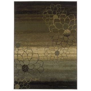 Abstract Floral Area Rug   Brown (67x96)