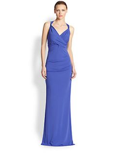 Nicole Miller Stretch Jersey Gown   New Cobalt