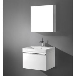 Madeli Venasca 24 Bathroom Vanity with Integrated Basin   Glossy White