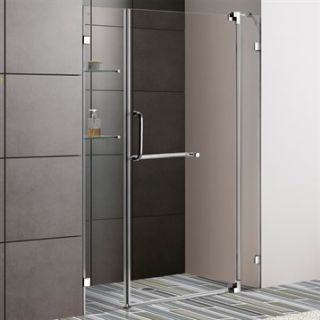 VIGO 48 inch Frameless Shower Door 3/8 Clear Glass