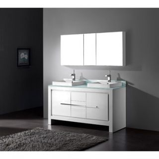 Madeli Vicenza 60 Double Bathroom Vanity   Glossy White