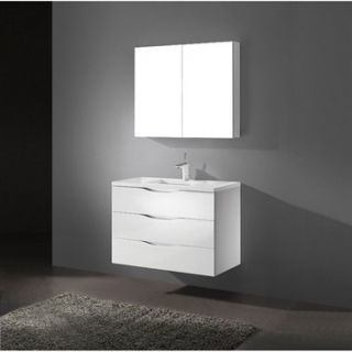 Madeli Bolano 36 Bathroom Vanity with Quartzstone Top   Glossy White