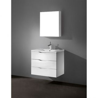 Madeli Bolano 30 Bathroom Vanity with Porcelain Top   Glossy White