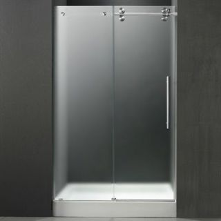 VIGO 48 inch Frameless Shower Door 3/8 Frosted/Chrome Hardware Right with White