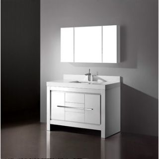 Madeli Vicenza 48 Bathroom Vanity with Quartzstone Top   Glossy White