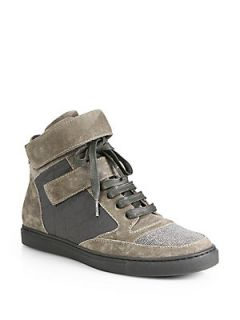 Brunello Cucinelli Beaded High Top Sneakers   Smoke