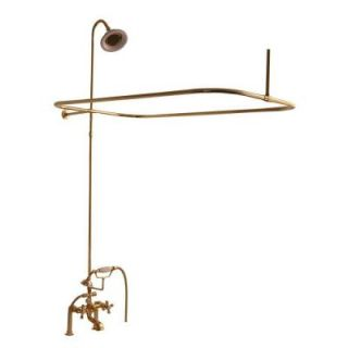 Barclay Products 3 Handle Claw Foot Tub Faucet with Hand Shower and Shower Unit in Polished Brass 4063 MC PB