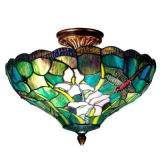 Dale Tiffany 2 Light Savannah Tiffany Antique Brass Semi Flush Mount TH70098