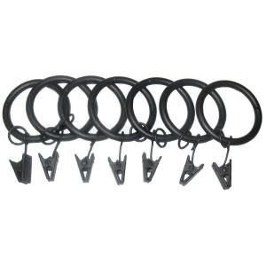 Classic Home 7 Pack 1 1/4 in. Matte Black Drapery Rings with Clips and Jump Rings 8772 40