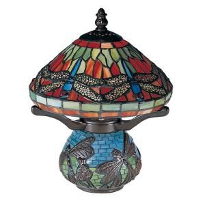 Dale Tiffany 10.25 in. Red Dragonfly Antique Bronze Accent Lamp 8774