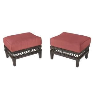 Hampton Bay Woodbury Patio Ottoman with Dragon Fruit Cushion (2 Pack) DY9127 O R