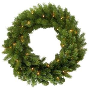 Martha Stewart Living 30 in. Feel Real Down Swept Deluxe Douglas Artificial Wreath with 50 Soft White LED Battery Operated Lights with Timer PEDD7 302L 30WB