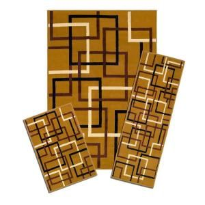 Capri Santa Fe Squares 3 Piece Set Contains 5 ft. x 7 ft. Area Rug, Matching 22 in. x 59 in. Runner and 22 in. x 31 in. Mat 5997/373 Y