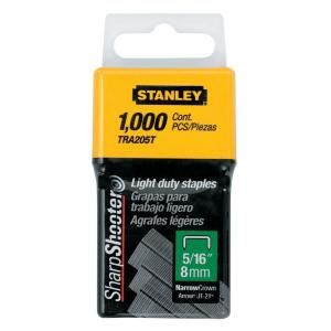 Stanley 5/16 in. Leg 1 in. Crown 1/2 Gauge Galvanized Steel Light Duty Staples (1,000 Pack) TRA205T