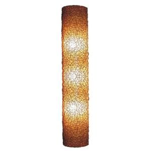 Jeffan Modern 75 in. Amber Half Moon Shaped Wall Sconce With Natural Rattan Accent LM 680A