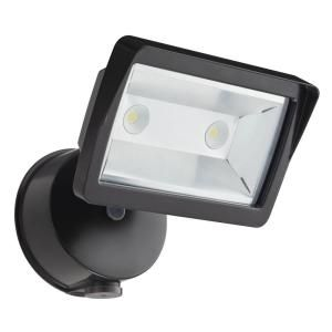 Lithonia Lighting Dusk to Dawn Wall Mount Outdoor Bronze LED Mini Single Head FloodLight OLFL 14 PE BZ M4