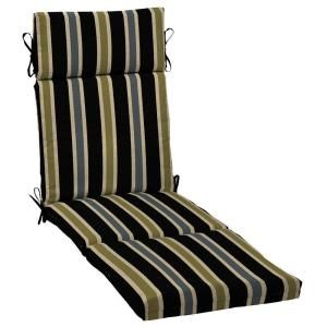 Hampton Bay Black Ribbon Stripe Outdoor Chaise Lounge Cushion JC24853X 9D1