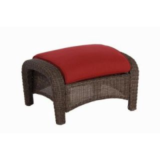 Hampton Bay Walnut Creek Patio Ottoman with Red Cushion (2 Pack) DISCONTINUED FRS62265F Red