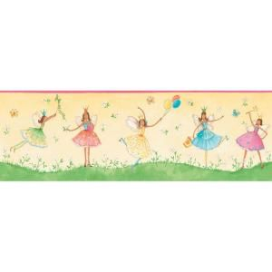 The Wallpaper Company 8 in. x 15 ft. Yellow Friendly Fairies Border WC1285077