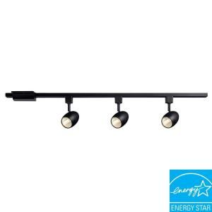 Hampton Bay 3 Light 39.37 in. Black LED Dimmable Track Lighting Kit 16033KIT BK
