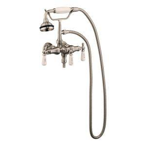 Barclay Products 3 Handle Claw Foot Tub Faucet with Old Style Spigot and Hand Shower in Brushed Nickel 4025 PL SN