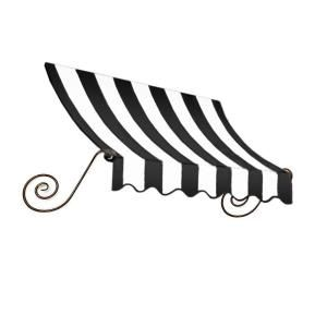 AWNTECH 10 ft. Charleston Window Awning (31 in. H x 24 in. D) in Black/White Stripe CH22 10KW