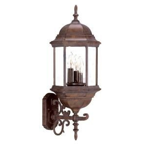 Acclaim Lighting Madison Collection Wall Mount 3 Light Outdoor Burled Walnut Light Fixture 5180BW