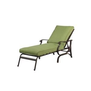 Hampton Bay Pembrey Patio Chaise Lounge with Moss Cushion HD14218