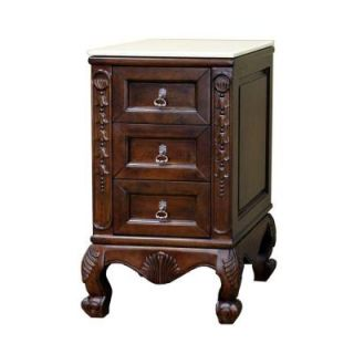 Bellaterra Home Wright 20 in. W Marble Top Side Chest Cabinet in Medium Walnut 202016A CABINET