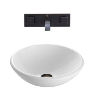 Vigo Stone Glass Vessel Sink in White Phoenix and Wall Mount Faucet Set in Antique Rubbed Bronze VGT217
