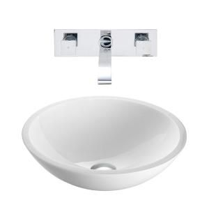 Vigo Flat Edged Stone Glass Vessel Sink in White Phoenix and Wall Mount Faucet Set in Chrome VGT227
