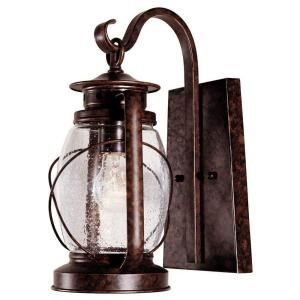 Illumine 1 Light Wall Mount Lantern New Tortoise Shell Finish Clear Seeded Glass CLI SH202853138