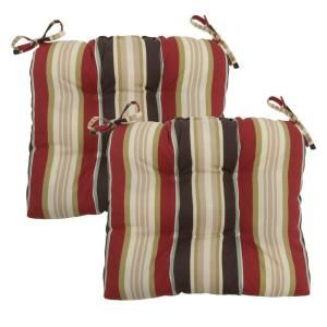 Hampton Bay Majestic Stripe Tufted Outdoor Seat Pad (2 Pack) 7200 02000200