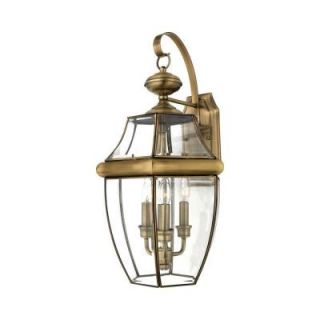 Filament Design 3 Light 16.00 in. Outdoor Antique Brass Clear Glass Wall Mount Light CLI GH8048153