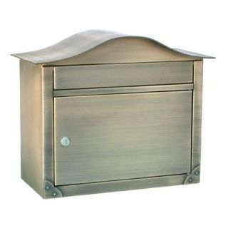 Architectural Mailboxes Peninsula Antique Brass Wall Mount Locking Mailbox 2402AB