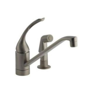 KOHLER Coralais Single Control Kitchen Faucet with 10 in. Spout, Sprayhead and Loop Handle in Vibrant Brushed Nickel K 15176 FL BN