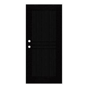 Unique Home Designs Plain Bar 36 in. x 80 in. Black Right Hand Surface Mount Aluminum Security Door with Charcoal Insect Screen 1S1001EL1BKISA