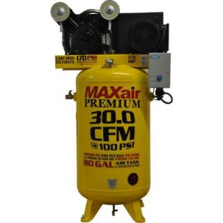 Maxair Premium Industrial 80 Gal. 7.5 HP Electric 575 Volt Single Stage 3 Phase Vertical Air Compressor C7580V1 CS MAP