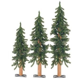 Sterling, Inc. 2 3 4 ft. Pre Lit Alpine Artificial Christmas Tree with Wooden Trunks (Set of 3) 2511 234c