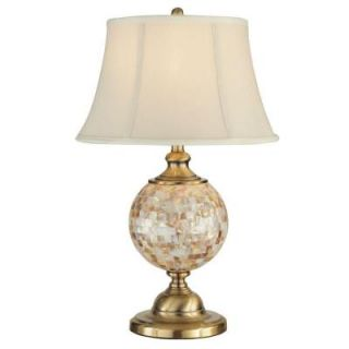 Dale Tiffany 26 in. Mosaic Orb Antique Brass Table Lamp with Night Light PT12299
