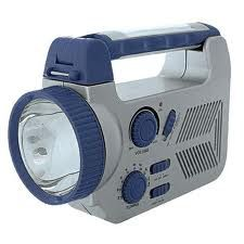 Solar Style SC006 Flashlight Sure Power Solar Radio, Accessory Charger, amp; Emergency Light Blue and Gray