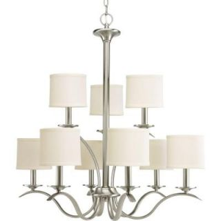 Progress Lighting Inspire Collection 9 Light Brushed Nickel Chandelier P4638 09