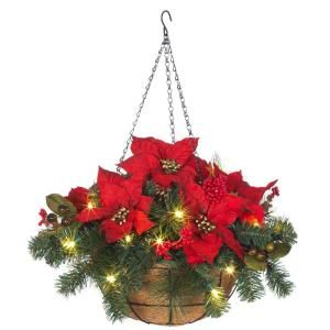 Martha Stewart Living 12 in. Pre Lit Red Poinsettia Hanging Basket 2108350HD R
